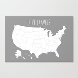 Love Travels USA Map in Grey Canvas Print