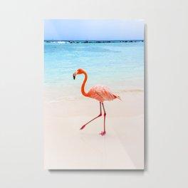 Walk On: Pink Flamingo Metal Print
