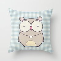 hamster Throw Pillows featuring Hamster by Mr and Mrs Quirynen