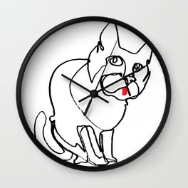 Continuous line drawing of cat Wall Clock