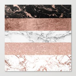Modern chic color block rose gold marble stripes pattern Canvas Print