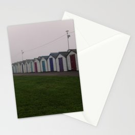 Preston Beach Huts On A Foggy Morning Stationery Cards