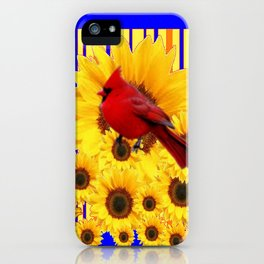 BLUE WESTERN YELLOW SUNFLOWERS RED CARDINAL iPhone Case