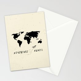 Adventure Map - Vintage Black Stationery Cards