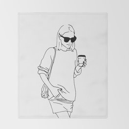 Woman with Coffee Throw Blanket