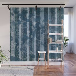 White stripes on grunge textured blue background Wall Mural