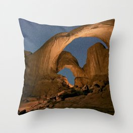 Double Arch And The Milky Way - Arches National Park - Moab, Utah. Throw Pillow