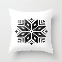 knit Throw Pillows featuring knit flake by Miranda J. Friedman