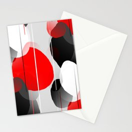 Modern Anxiety Abstract - Red, Black, Gray Stationery Cards