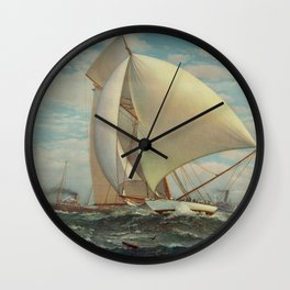 Vintage Painting of a Fast Sloop Sailboat (1895) Wall Clock