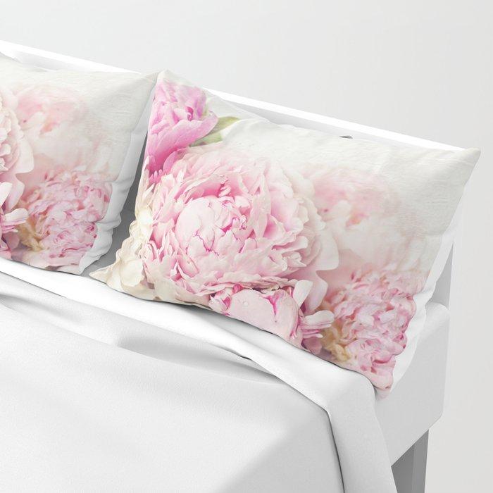 Peonies on white Pillow Sham