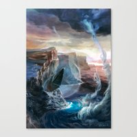 magic the gathering Canvas Prints featuring Island - Magic: The Gathering by vmeignaud