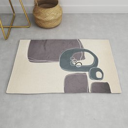 Retro Abstract Design in Peninsula Blue and Aubergine Rug