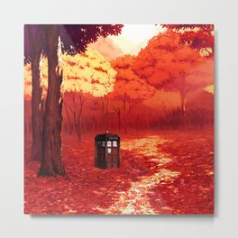 Tardis Autumn Tree Forest Metal Print