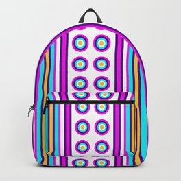 Geometric Vertical Stripes & Circles - White Purple Pink Blue Yellow Backpack