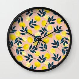 Lemon Goodness, Botanical Nature Forest Illustration, Bohemian Blush Colorful Painting Wall Clock