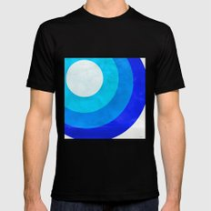 The Moon Circles Blue X-LARGE Black Mens Fitted Tee