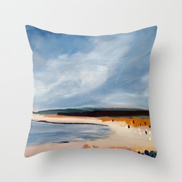 Beach in Navy and Ochre Throw Pillow