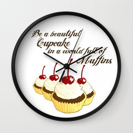 Inspirational Cupcakes Wall Clock