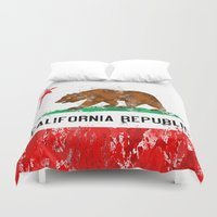 flag Duvet Covers featuring California Flag by Evan