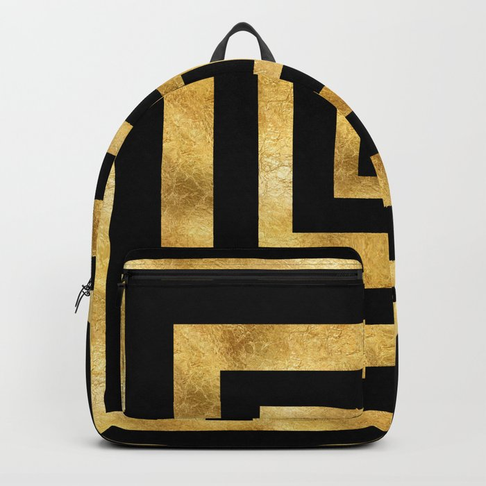 ART DECO SQUARES BLACK AND GOLD #minimal #art #design #kirovair #buyart #decor #home Backpack