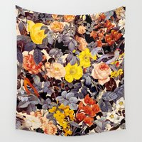 floral pattern Wall Tapestries featuring Floral Pattern by Burcu Korkmazyurek