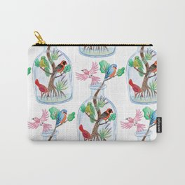Birds in a Bottle Watercolor Painting Carry-All Pouch