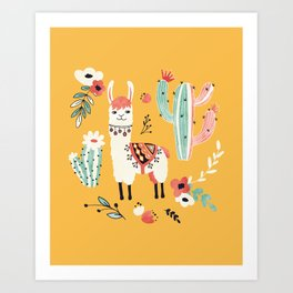 White Llama with flowers Art Print