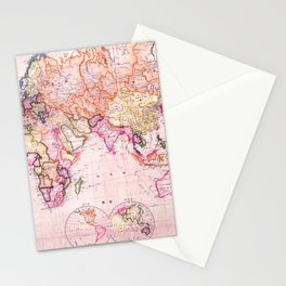 Vintage Map Pattern Stationery Cards
