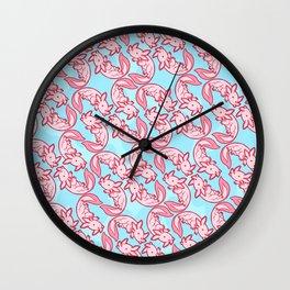 Kawaii Axolotl Pastel Chido Pink Wall Clock