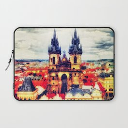 Prague Church Of Our Lady Before Tyn Watercolor Laptop Sleeve