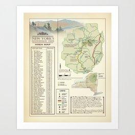 New York State Adirondack/High Peaks table [vintage inspired] Map print Art Print