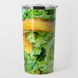 Salad arugula leaves with cheese and orange slices Travel Mug