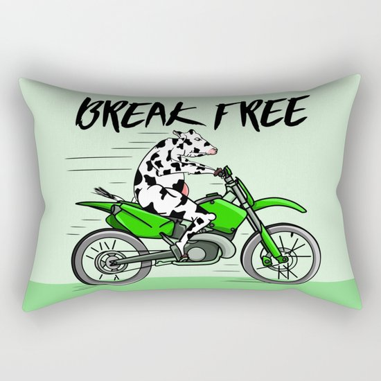 Cow riding a motorbike Rectangular Pillow