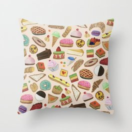 Desserts of NYC Cream Throw Pillow