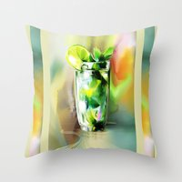 cocktail Throw Pillows featuring cocktail by tatiana-teni