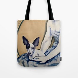 lady with dog Tote Bag