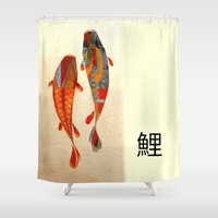 text Shower Curtains featuring Kolors Koi by Fernando Vieira