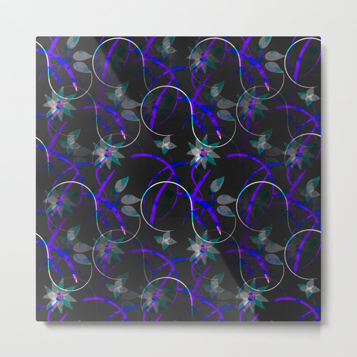 Flower Swirl Pattern Night Metal Print