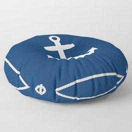 Nautical Anchor on Navy Blue Floor Pillow