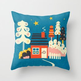 Festive Winter Hut Throw Pillow