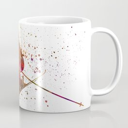 Woman skier skiing jumping 03 in watercolor Coffee Mug