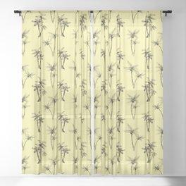 Cali Palms Yellow Sheer Curtain