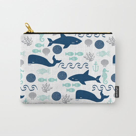 Nautical ocean animals sharks whales seahorses wave pattern sea life Carry-All Pouch