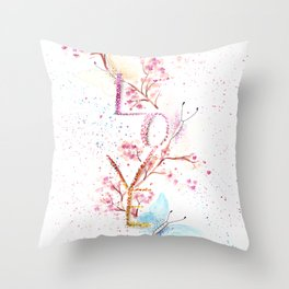 Love Butterflies Watercolor Illustration Throw Pillow
