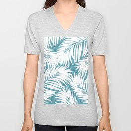 Palm Tree Fronds White on Soft Blue Hawaii Tropical Décor Unisex V-Neck
