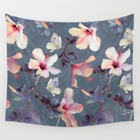 grey Wall Tapestries featuring Butterflies and Hibiscus Flowers - a painted pattern by micklyn