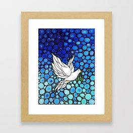 Peaceful Journey - Vibrant white dove by Labor Of Love artist Sharon Cummings. Framed Art Print