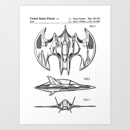 Batwing Patent - Bat Wing Art - Black And White Art Print