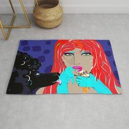 """Black Poodle"" Paulette Lust's Original, Contemporary, Whimsical, Colorful Art  Rug"